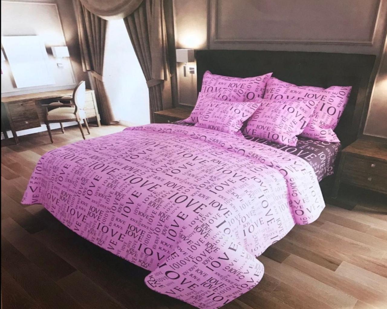 Комплект постельного белья полуторный Бязь GOLD 100% хлопок Любовь Сиреневый