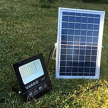 Светодиодный прожектор 25W на солнечной батарее с пультом. Фонарь солнечный 6500К, фото 2