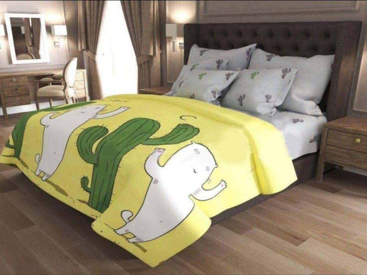 Комплект постельного белья  Бязь GOLD 100% хлопок Модный  Кактус Желто - серого цвета
