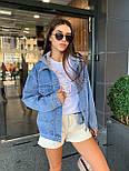 Женская джинсовая куртка оверсайз с капюшоном тканевым 7901306, фото 4