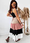 Длинный летний сарафан с расклешенной разноцветной юбкой 41031407, фото 2