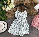 Короткое летнее платье - комбинезон на бретелях с резинкой на талии 79031419, фото 2
