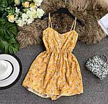 Короткое летнее платье - комбинезон на бретелях с резинкой на талии 79031419, фото 3
