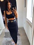 Юбочный женский костюм с юбкой - карандаш миди и топом 4110947, фото 5