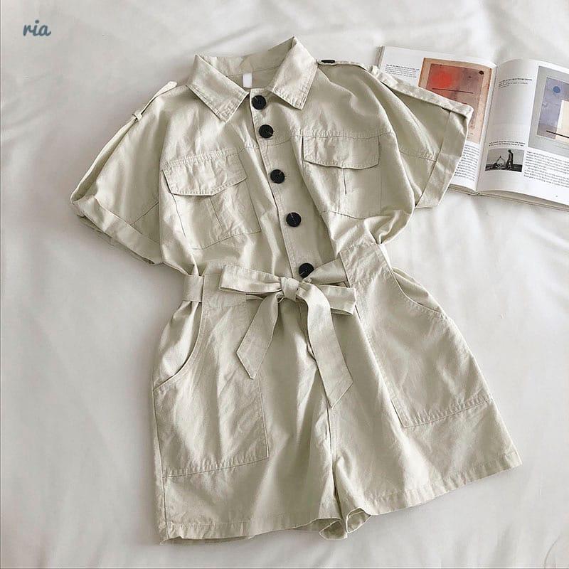 Коттоновый жіночий ромпер з рубашечным верхи і короткими шортами 7710950