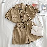 Коттоновый жіночий ромпер з рубашечным верхи і короткими шортами 7710950, фото 2