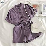 Коттоновый жіночий ромпер з рубашечным верхи і короткими шортами 7710950, фото 3