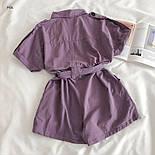 Коттоновый жіночий ромпер з рубашечным верхи і короткими шортами 7710950, фото 4