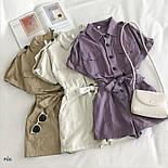 Коттоновый жіночий ромпер з рубашечным верхи і короткими шортами 7710950, фото 6
