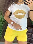 Летний женский костюм с короткими шортами и футболкой с рисунком 4410958, фото 2