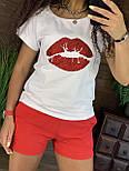 Летний женский костюм с короткими шортами и футболкой с рисунком 4410958, фото 4
