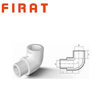 Колено (угол) ниппельное 25х90 (ВН/НР) для полипропиленовых труб Firat