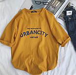Летняя футболка оверсайз из хлопка с надписью 6817352, фото 4