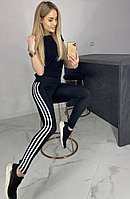 """Спортивные лосины с лампасами, женские лосины больших размеров, лосины леггинсы для фитнеса модель """"Лампасик"""", фото 1"""