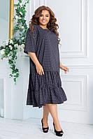 Женский сарафан летнее платье в горох короткий рукав размер: 48-50,52-54,56-58,60-62