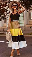 Длинный летний сарафан с расклешенной разноцветной юбкой 41PL1407, фото 1