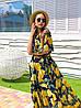 Длинное летнее принтованное платье из шифона с открытыми плечами 16PL1410