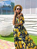 Длинное летнее принтованное платье из шифона с открытыми плечами 16PL1410, фото 1