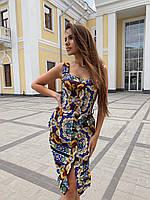 Принтованное летнее платье по фигуре без рукава 60PL1414, фото 1