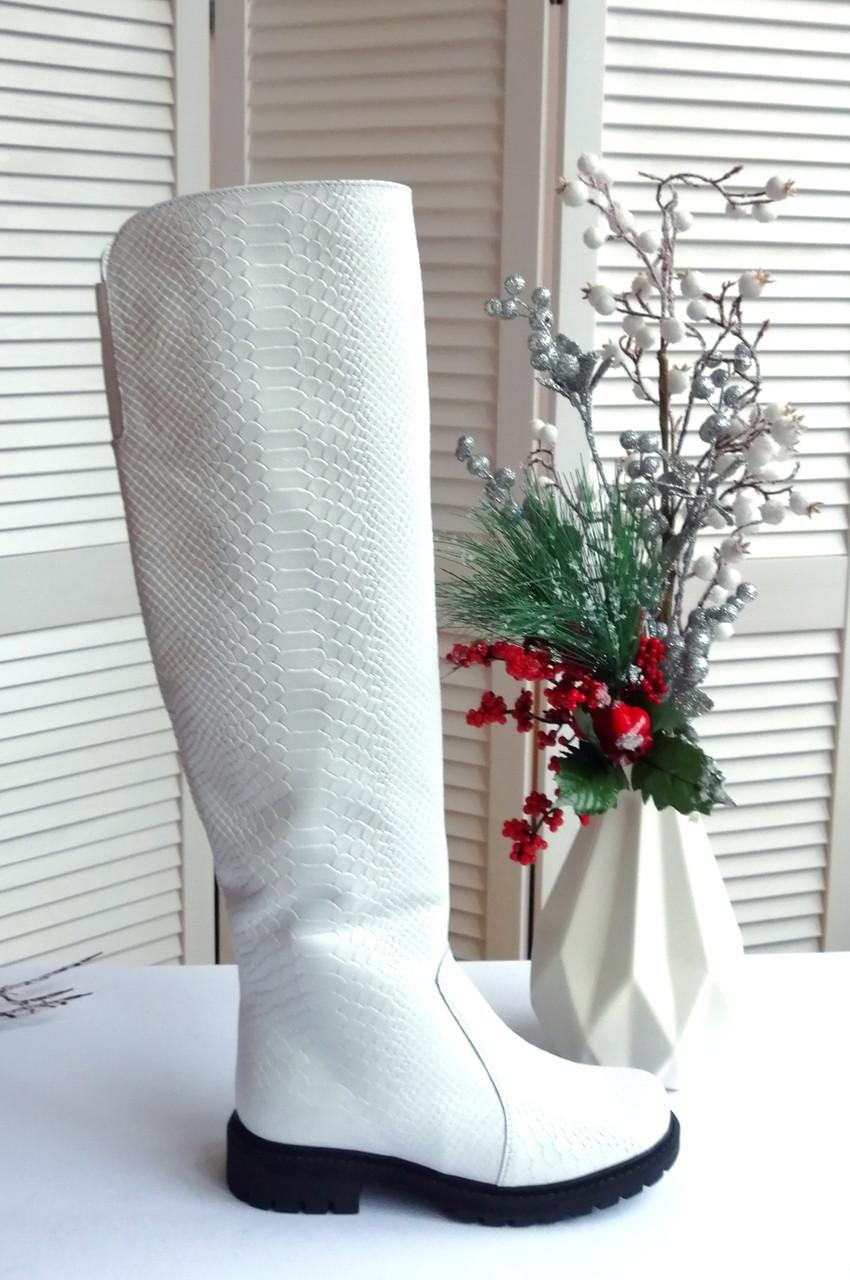 Белые ботфорты натуральная кожа принт питон