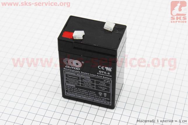 Аккумулятор OT5-6C - 6V5Ah (L70*W48*H100mm) для ИБП, игрушек и др., 2020, фото 2