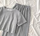 Женский летний костюм с брюками на манжетах и короткой футболкой 79ks962, фото 2