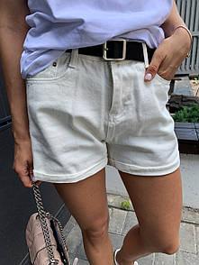 Женские белые джинсовые шорты с подворотами 79sw17