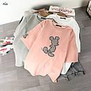 Трикотажная свободная женская футболка с рисунком - нашивкой 77ma342, фото 2