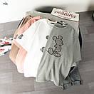 Трикотажная свободная женская футболка с рисунком - нашивкой 77ma342, фото 3
