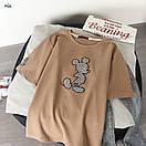 Трикотажная свободная женская футболка с рисунком - нашивкой 77ma342, фото 4