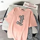 Трикотажная свободная женская футболка с рисунком - нашивкой 77ma342, фото 5