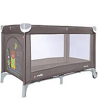 Детский игровой манеж шоколадный на колесах с дверцей на молнии CARRELLO Piccolo CRL-9203/1 деткам от рождения