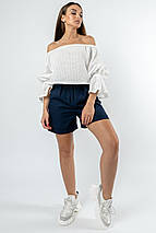 Летний женский костюм с блузой-топом и льняными шортами (Агата-Криспи-Лен ri), фото 2