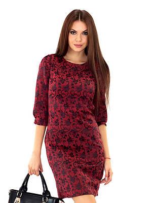 Красивое коктейльное платье бордовое