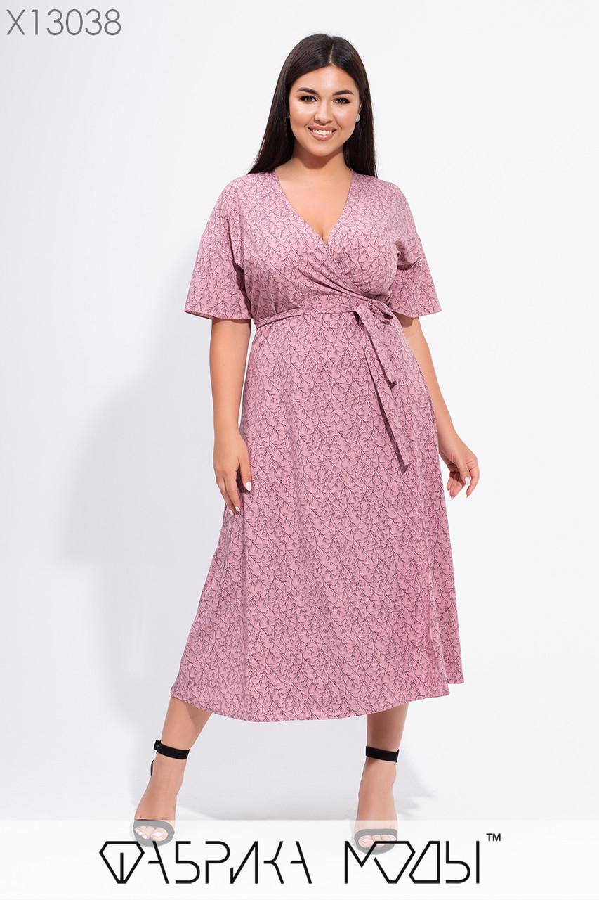 Платье летнее в больших размерах на запах с поясом и длиной миди 1uk715