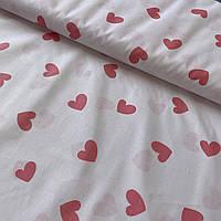 Ткань бязь с сердечками розовыми 2,5 см на бледно-розовом фоне, ш. 160 см, фото 1