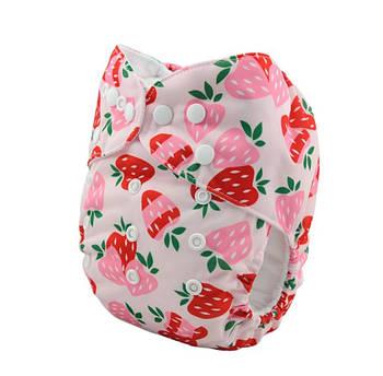 Детский подгузник многоразовый c вкладышем Berni Клубничка 3-15 кг Розовый (54618)