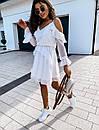 Белое шифоновое платье с расклешенной юбкой и открытыми плечами, на гурди и рукавах воланы 41plt1406, фото 3