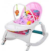 Детский шезлонг-качалка 3в1, музыкальный, дуга с подвесками, съемный столик, 70×50×62 см, 7788