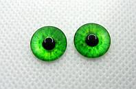 Очі акрилові з круглою зіницею, 12 мм, пара, зеленіі