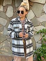 Женское свободное прямое полуЖенские пальто в клетку без подклада 37mpa370, фото 1