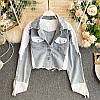 Укороченная женская джинсовая куртка с белыми вставками 48mku303