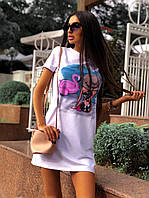 Короткое летнее прямое платье белое с рисунком и коротким рукавом 5mpl1398, фото 1