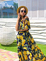 Длинное летнее принтованное платье из шифона с открытыми плечами 16mpl1410, фото 1