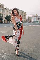 Шифоновый принтованный сарафан в пол с принтованными вставками 60mpl1415, фото 1