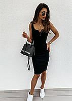Платье из трикотажа рубчик на бретелях с пуговицами на груди 79mpl1418, фото 1