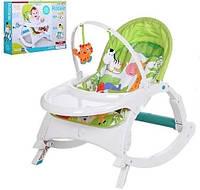 Детский шезлонг-качалка 3в1, музыкальный, дуга с подвесками, съемный столик, 70×50×62 см, 7988