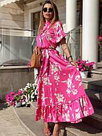 Летнее платье - рубашка с расклешенной юбкой и коротким рукавом 22mpl1420, фото 1
