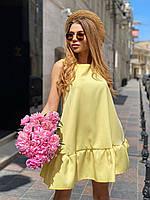 Летнее платье - трапеция без рукава с оборкой  22mpl1421, фото 1
