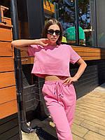 Спортивный женский костюм с брюками на манжетах и укороченной свободной футболкой 79msp1009, фото 1
